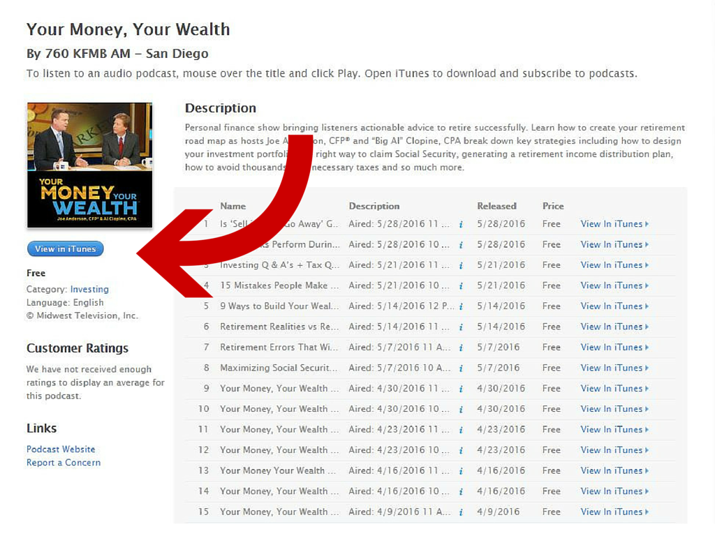 itunes page